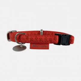 COLLIER MAC LEATHER Cuir ROUGE Règlable