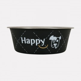 Gamelle inox Happy Dog noire - 0,8 l