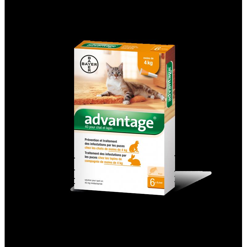 ADVANTAGE chat et lapin 0-4 Kg / 6 pipettes
