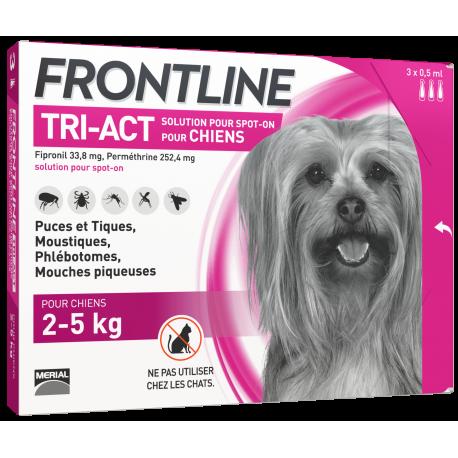 Frontline Tri-Act Chien XS de 2 à 5Kg / 3 pipettes