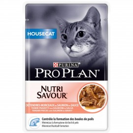 PROPLAN Chat Nutrisavour Housecat au Saumon - 24 sachets fraicheur de 85gr