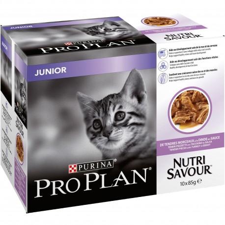 PROPLAN CHAT Nutrisavour Junior à la Dinde - 10 sachets fraicheur de 85 gr