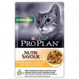 PROPLAN CHAT Nutrisavour Sterilised au Poulet - 10 sachets fraicheur de 85 gr