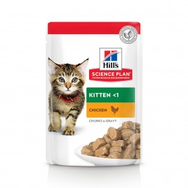 HILL'S SCIENCE PLAN CHAT Kitten Bouchées en sauce Pack mix (6 poisson, 6 poulet) 12 x 85 g
